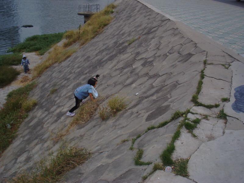 聪儿爬斜坡。