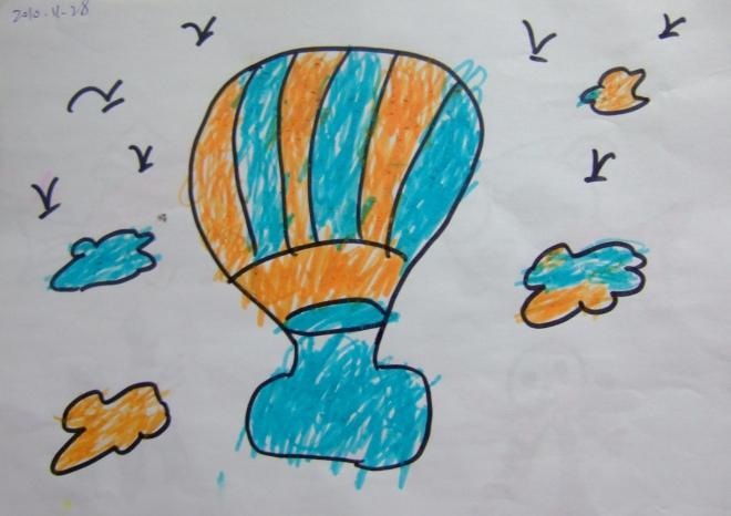热气球:双色填色图片