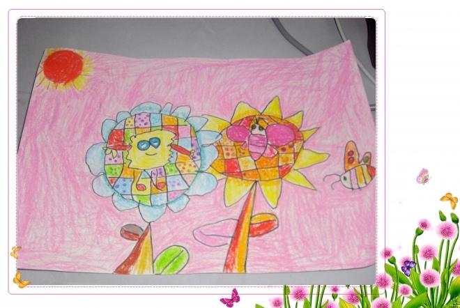 蜡笔画:向日葵 年龄:五岁三个月-我是小画家 五彩缤纷的世界