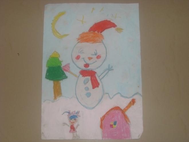 水粉与蜡笔画:快乐的小雪人 作画年龄:五岁两个月-我是小画家 五彩