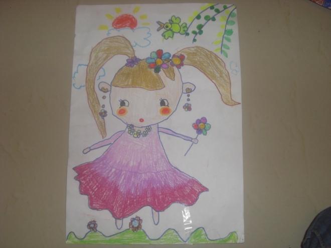 蜡笔画:快乐的小女孩 作画年龄:五岁-我是小画家 五彩缤纷的世界
