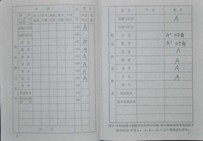 小学一年级上学期成绩评定