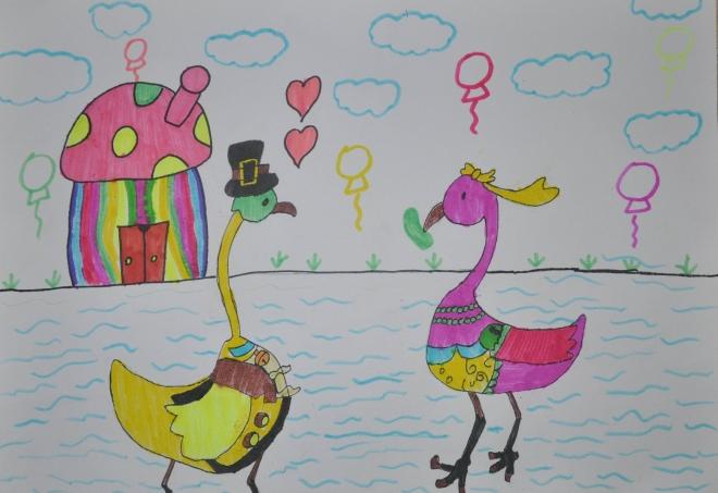 描画 过年咯 天鹅公主和王子过上了幸福的生活图片