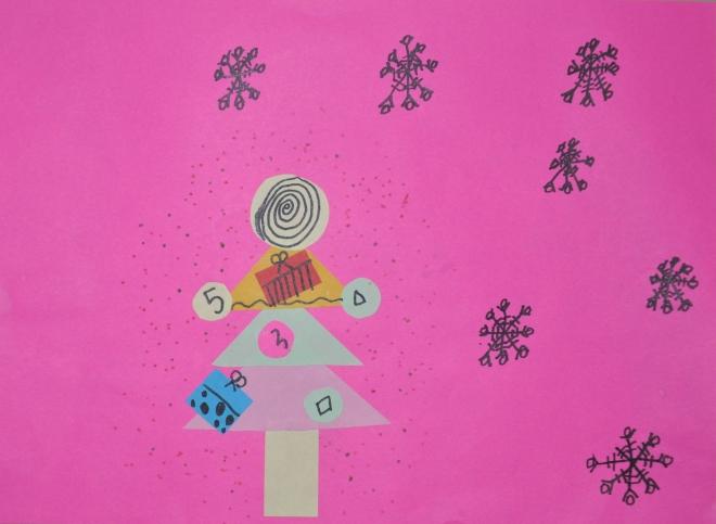 第二张是晨曦的剪贴画-晨曦2013年1月假期绘画作品和手工作品