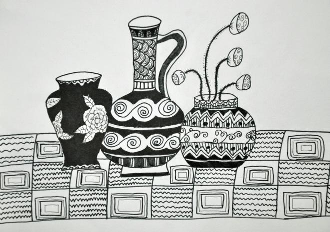 教师黑白线描画——蛋糕盘艺术(3)图片