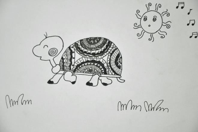 黑白线描画:可爱的小乌龟