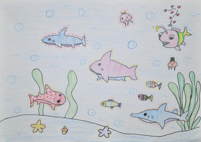 6,彩铅画《海底世界》