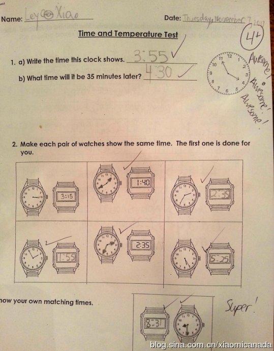 2013-11-13&nbsp;<wbr>三年级的数学第二单元测试题---时间和温度